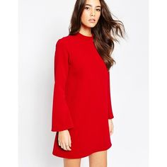ASOS Tunic Dress with Flared Sleeves ($76) ❤ liked on Polyvore featuring dresses, deep red, asos, red bell sleeve dress, red dress, asos dresses and flared sleeve dress
