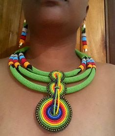 Jewelry OFF! Excited to share this item from my shop: Necklace/ zulu Necklace / African necklace / jewelry African Beads Necklace, African Jewelry, Tribal Jewelry, Beaded Jewelry Patterns, Fabric Jewelry, Beading Patterns, Tribu Masai, Afro, Handmade Necklaces