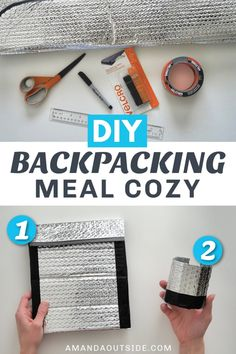 How to make a DIY backpacking meal cozy to keep your backpacking food and drinks hotter longer when camping! Amanda shows you exactly how to make your own homemade backpacking cozy 2 ways - a cook pou Backpacking Food, Ultralight Backpacking, Hiking Tips, Hiking Gear, Youtube How To Make, Gorilla Tape, Accordion Fold, Camping Hammock, Kayak Camping