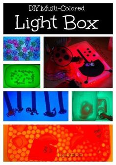 Lightboxes can be expensive. Find out at LalyMom how to make a lightbox for your kids to explore. Add this to your child's playroom. Also, this DIY lightbox makes for a perfect birthday gift. The very best gifts are handmade and from the heart. This is a crazy fun idea that kids will have a blast with! Toddlers, preschoolers, and kindergarteners will have fun exploring with the light. Sensory Activities, Craft Activities For Kids, Toddler Activities, Sensory Play, Kindergarten Sensory, Sensory Diet, Sensory Table, Creative Activities, Activity Ideas
