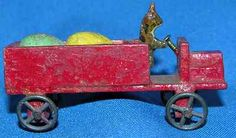 C 1910 Vtg Erzgebirge German Wood Penny Toy Miniature Bunny Truck w Eggs | eBay