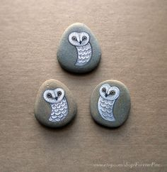 OOAK tiny ghost pocket owls  3 painted pebbles  by ForeverPine, $28.00