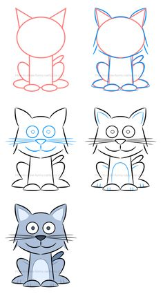 Drawing Doodle Easy How to draw a kitten and how to play with proportions. - Learn how to create a beautiful illustration of a kitten and then see how you can play with proportions and make this character cuter! Drawing Lessons For Kids, Easy Drawings For Kids, Colorful Drawings, Art Lessons, Art For Kids, Art Drawings Sketches, Cartoon Drawings, Animal Drawings, Easy Doodle Art