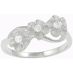@Overstock - Click here for Ring Sizing ChartRing with an etched plumeria design with clear cubic zirconiaSterling silver jewelryhttp://www.overstock.com/Jewelry-Watches/Sterling-Silver-Cubic-Zirconia-Plumeria-Ring/3323016/product.html?CID=214117 $18.99