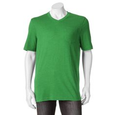 Men's Croft & Barrow® Signature Pocket V-Neck Tee, Size: Medium, Dark Green