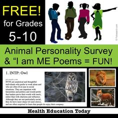 "Fun Animal Personality Survey and ""I am ME"" Poems - FREE! ★This is perfect for the first week of school and works well for any 5th - 10th grade student! Includes full teacher directions, PowerPoint to walk you through the lessons, fun intro video, survey, poem worksheet, and more...ALL FREE!!!!"