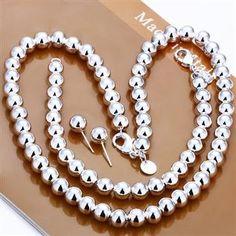 Jewelry Set,10MM Solid beads 3 Piece set,925 Sterling silver Necklace&Bracelet&Earrings