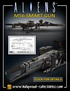 The Smartgun is a General Purpose automatic Squad Support Weapon used by the US Colonial Marines in the blockbuster movie Aliens. Alien 2, Alien 1979, Predator Alien, Aliens Colonial Marines, Giger Alien, Sci Fi Anime, Starship Troopers, Future Soldier, Aliens Movie