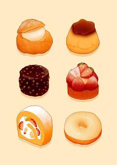 An array of deserts Dessert Drinks, Dessert Recipes, Dessert Illustration, Japanese Illustration, Cute Food Art, Chibi Food, Food Sketch, Food Cartoon, Watercolor Food