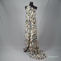 Cotton with Silk Brown Print Dress
