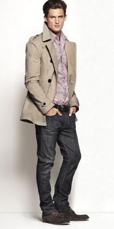 Trying to decide if my husband would look good in a trench like this. Not sure. (via express.com)