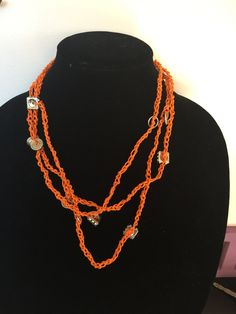 Crochet Beaded Necklace - Orange by justincasegifts on Etsy