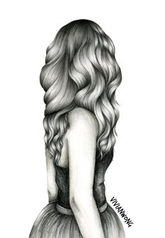 Wavy Hair Sketch Black and White Sketching by vivianhitsugayaArt