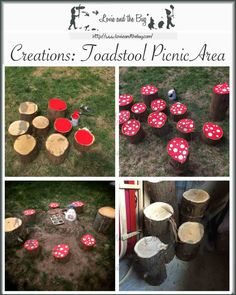 Create a perfect backyard picnic area for your little gnomes! Toadstool stump ring. Keywords: DIY, recycle, natural, toadstool, mushroom, fairy ring, gnome, fairy tale, picnic, outside, outdoors, nature, explore, imagination, create, home classroom, homeschool, toddler, preschool, little kids, fun