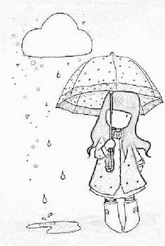 Boneca gorjuss na chuva