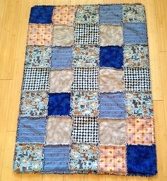 Blue gray flannel rag type quilt with batting by WhenDoxiesFly,