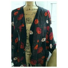 Boho Black floral kimono This is a lightweight polyester kimono with a red poppy pattern.  The size is medium and the label is Gilligan & Omalley. Gilligan & O'Malley Tops
