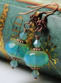 Handmade Jewelry Earrings Beaded Crystal Czech Glass Antique Copper Aqua Light Blue Teal Turquoise Dangle...Oceana