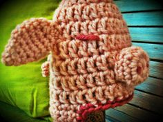Pig crochet hat by FairyRingsCollection on Etsy, €15.00