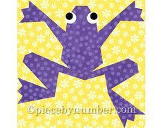 Kiriki the Frog quilt block paper pieced by PieceByNumberQuilts, $3.50