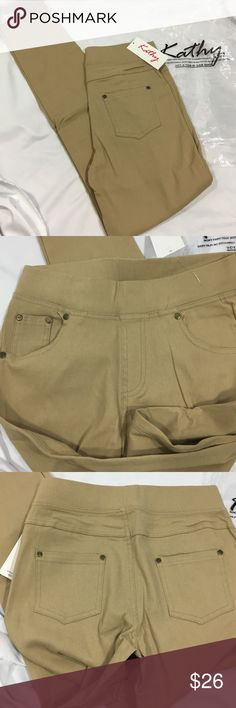 Five pocket jeans leggings NWTs size small/medium By Kathy very nice quality five pocket leggings, with copper styled rivets on pockets. These are pool line, waist measurement Unstretched is 25 inches, inseam is 28 1/2 inches. New with tags's color is beige/tan Kathy Pants Leggings