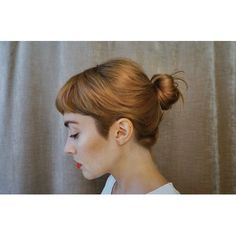 bethany toews, beauty, hairstyle, short fringe, little bun, make up