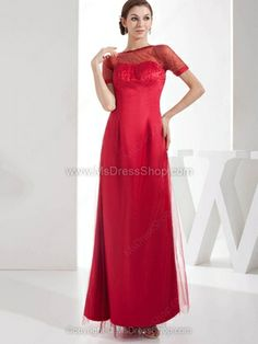 Sheath/Column Bateau Tulle Satin Ankle-length Beading Prom Dresses