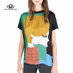 2016 spring summer new Europe and America women's clothing wholesale retro portrait cartoon print short sleeve causal t-shirt - Bamba Big Shop Short Women Fashion, New Fashion, Womens Fashion, Fashion Group, T Shirts, Casual Shirts, T Shirt Women, Portrait Cartoon, Shirt Printer
