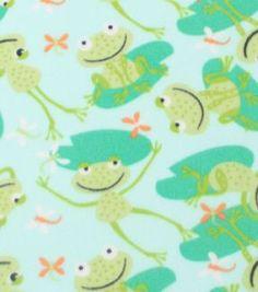 "Blizzard Fleece Print Fabric 59""-Froggies On Lily Pads"