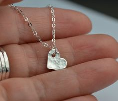All Sterling Hammered Heart Necklace Dainty Charm by Beautiful2u, $19.00