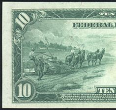 US Hemp Farmers in Action on a 1914 $10 Bill on the other side of the bill they show the farmers smoking the hemp.