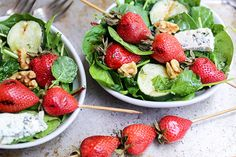 Vegetarian Grilled Strawberry and Cucumber Salad Recipe - healthy vegetarian salad recipe | ohmyveggies.com
