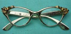Vintage Retro 50s Flair cat eye glasses w/ rhinestones