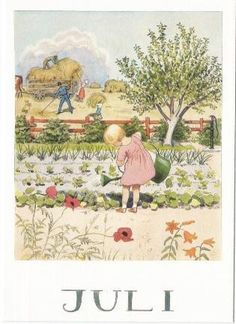 'Juli' ~ watering the garden, hay harvest ~ summer illustration by Elsa Beskow Elsa Beskow, Images Vintage, Vintage Pictures, Vintage Cards, Gravure Illustration, Children's Book Illustration, Old Illustrations, Jolie Photo, Flower Fairies