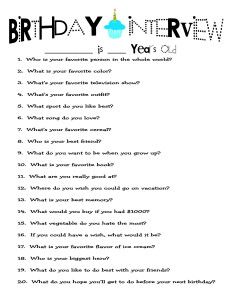 *Birthday Interview. Questions to ask your child every year on their B-Day to see how they have changed. Happy Birthday