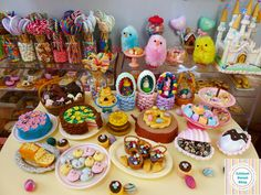 Easter Spring miniatures by Littlest Sweet Shop by LittlestSweetShop on DeviantArt Miniature Crafts, Miniature Food, Polymer Clay Miniatures, Dollhouse Miniatures, Simnel Cake, Marshmallow Peeps, Pastel Candy, Easter Colors, Easter Chocolate