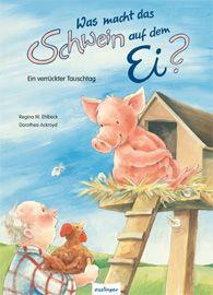 """Fazit """"Was macht das Schwein auf dem Ei? – Ein verrückter Tauschtag"""" ist ein humorvolles Bilderbuch, welches durch die warmherzige Geschichte und die liebevollen Illustrationen magische Kinderblicke auf sich zieht. Es gibt etliche Situationen, die Kinder sowie die Vorleser zum herzhaften Lachen anregen."""