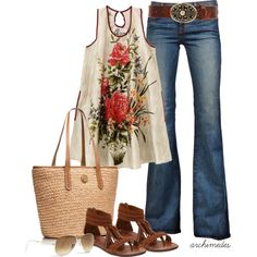 Summer of Love by archimedes16 on Polyvore featuring J Brand, Tory Burch, Leatherock, Ray-Ban and Minnetonka