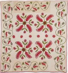 Princess Feather 4-block quilt with vine & bird border.