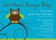 cute Owl DIY printable baby (or bridal) shower invitations