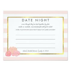 Bridal Shower Date Night Cards | Pink Stripe Peony Let bridal shower guests share their favorite date night ideas for the happy couple, with these sweet cards. Customizable with the bride's name and date of shower. Place a stack at the entrance to the event, pass them around, or leave one at each place setting. Makes a beautiful keepsake for the bride, and a great alternative for brides who want something a little different than the usual games! Design features a delicate pink stripe…