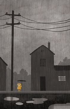 Love this rainy day illustration by Corey Egbert illustration Children's Book Illustration, Illustrations And Posters, Art Plastique, Mail Art, Illustrators, Graphic Art, Concept Art, Fine Art, Drawings