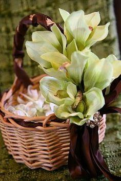 The flower girl's basket of petals.