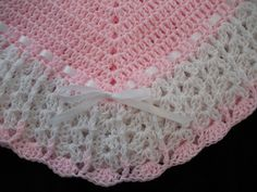 NEW Handmade Crochet Baby Blanket Afghan (Pink and White) | Baby, Nursery Bedding, Blankets & Throws | eBay!