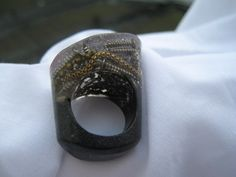 Fashion that talks Modern Asymetrical full resin ring handmade by RedHotDan.etsy.com $26.00