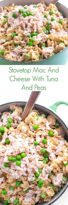 A quick and easy kid-friendly pasta recipe, this Stovetop Mac and Cheese with Tuna and Peas is sure to be a family favorite weeknight dinner! #kidfriendlyfood #Maindish #easydinner #easyrecipe #macandcheese