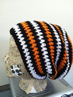GIANTS!!  Crochet Slouch Beanie Simple Stripes  Men  by BusyFamilyLife, $20.00