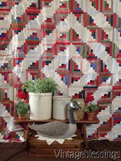 Large & Outstanding! Antique Log Cabin QUILT c1900 Beautiful Fabrics www.Vintageblessings.com