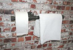"TOILET + TOWEL RAIL Combined Industrial 3/4"" Pipe Upcycled  Heavy Duty Small Bathroom / wc - Hand Towel -Water Pipe Brackets Vintage"