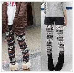 Free Shipping Fashion Retail Autumn Winter warm Thin Colorful Crystal Pattern Snowflakes Women's Knit   Pants $7.00